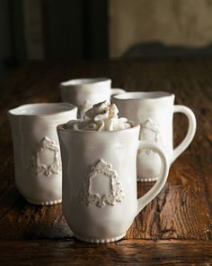"Four ""Heirloom"" Mugs by GG Collection at Horchow. Makes me think of hot chocolate in winter!"