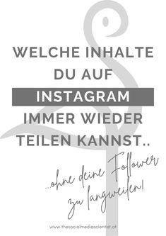 """5 Instagram Content Ideen, die du immer wieder zum Planen und Posten nutzen kannst. """"Über mich"""", Zitate, Infografiken u.v.m."""