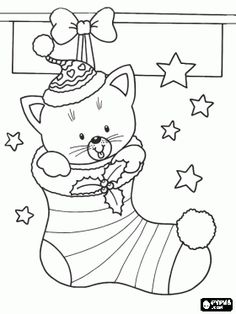 Christmas stocking hung with a kitten inside coloring page - bjl