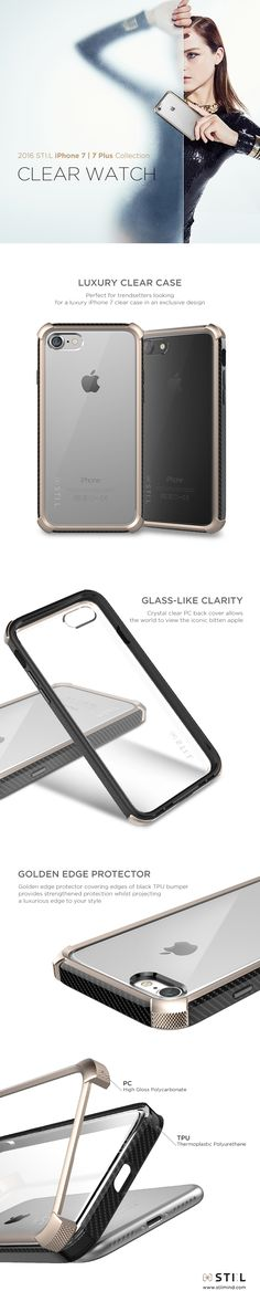 """CLEAR WATCH"" is a stunning #iPhone7 clear case which takes its inspiration from a sturdy luxury watch designs. With a clear glass-like polycarbonate (PC) back cover, the iconic Apple logo can clearly be seen. #iphone #stilmind #stilcase #stilphonecase #stil #apple #7plus #fashion #trend #item #design #mobile #phone #case #2016fw #2016collection #vegetableleather #italianleather #catalog #ebook"