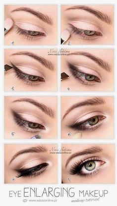 Make-up - Braut Mit Sass Wedding Day Makeup Eye enlarging makeup tutorial. Also, I read somewhere that priming with a white (thick) liner can make that metallic color stay longer without fading. Romantic Eye Makeup, Simple Eye Makeup, Natural Makeup, Natural Beauty, Small Eyes Makeup, Quick Makeup, Eyeshadow For Hooded Eyes, Sleek Makeup, Makeup For Bigger Eyes