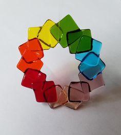 Rainbow of color fused glass suncatcher