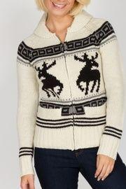 Triple 5 Soul Reindeer Zip Front Sweater in Cream.