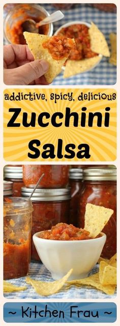 spicy homemade canned zucchini salsa (I added some adobo sauce for some spicyness! Canned Zucchini, Zucchini Relish Recipes, Zucchini Salsa, Zucchini Zoodles, Zucchini Pickles, Zuchinni Recipes, Preserving Zucchini, Pickled Zucchini, Salsa Canning Recipes