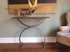 A Console Table with Curves! Live-Edge Walnut Top on unpainted Steel Legs. Live Edge Wood, Console Table, Repurposed, Entryway Tables, Curves, Furniture Design, Design Ideas, Legs, Steel
