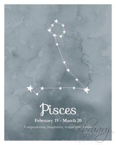¿Buscando una forma económica de decorar tu hogar o un regalo de cumpleaños para un Piscis? Entonces esta es la compra perfecta!  ESTE LISTADO ESTÁ PARA UNA IMAGEN DIGITAL DE ALTA CALIDAD EN FORMATO JPEG. TENGA EN CUENTA QUE IMPRESIÓN FÍSICA NO SE LE ENVIARÁ EN EL POST.  Usted recibirá dos imprimibles: uno para imprimir de la constelación de estrellas de Piscis en fondo oscuro textura acuarela azul y otro con la misma imagen con la fecha y características del zodíaco. El texto en la imagen…