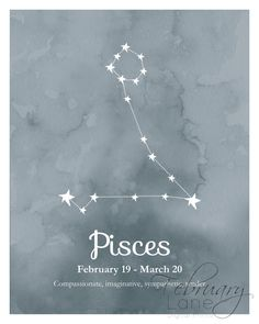 Pisces Zodiac Constellation Wall Art Printable by FebruaryLane