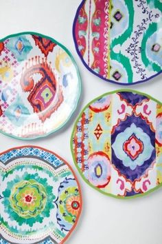 colorful decorative plates: