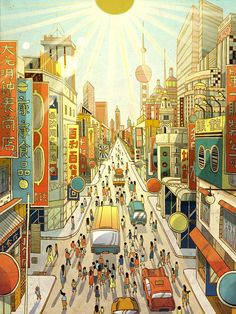 Los Angeles-based illustrator and storyboard artist Victo Ngai produces layered illustrations that reveal elaborate worlds filled with unexpected details. Chinese Artwork, Storyboard Artist, Communication Art, City Illustration, City Streets, Illustrators, Life Is Good, Digital Art, Weaving