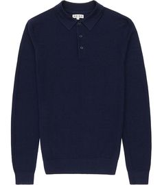 Mens Navy Textured Polo Shirt - Reiss Sway