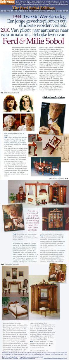 Prachtige miniaturen! Dutch magazine Dolls House Nederland article on The Ferd Sobol Editions. See more: http://thesoboleditions.blogspot.com/2013/03/dolls-house-nederland-ferd-sobol.html