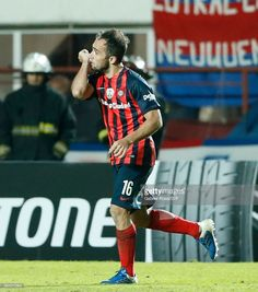 Fernando Belluschi of San Lorenzo celebrates after scoring the second goal of his team during a group stage match between San Lorenzo and Flamengo as part of Copa CONMEBOL Libertadores Bridgestone 2017 at Pedro Bidegain Stadium on May 17, 2017 in Buenos Aires, Argentina.