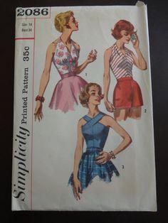 1950s Simplicity 2086 Halter Top Blouse 18.00 Dec'13