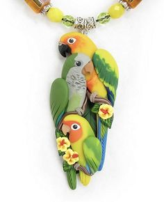 Custom Sun Conure, Quaker & Lovebird Necklace Closeup