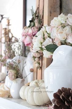 soft white and pink for fall...love it All Things Shabby and Beautiful