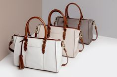 We loved this polished trio of neutral Casual Leather Satchels.  Available at: http://qvc.co/CasualSatchel