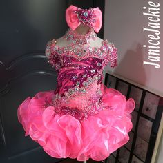 (neon pink with berry) (item: include choker - pageant dresses Pageant Dresses For Women, Toddler Pageant Dresses, Glitz Pageant Dresses, Pagent Dresses, Pageant Girls, Ball Dresses, Nice Dresses, Amazing Dresses, Quinceanera Dresses
