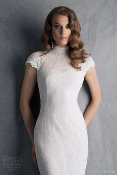 cymbeline wedding dresses 2014 bridal hobbie cap sleeve lace gown keyhole back high neck