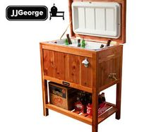Shop Now for a stylish Nukshuk Cooler. Handmade out of eastern cedar lumber harvested locally, check it out! Wood Cooler, Cooler Cart, Patio Cooler, Cooler Stand, Outdoor Cooler, Ice Chest Cooler, Beer Cooler, Cooler Box, Pallet Cooler