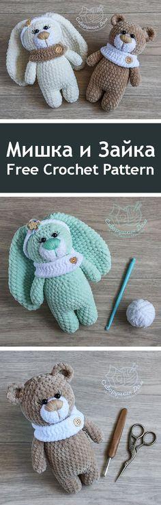 PDF Мишка и Зайка. Бесплатный мастер-класс, схема и описание для вязания игрушки амигуруми крючком. Вяжем игрушки своими руками! FREE amigurumi pattern. #амигуруми #amigurumi #схема #описание #мк #pattern #вязание #crochet #knitting #toy #handmade #поделки #pdf #рукоделие #мишка #медвежонок #медведь #медведица #bear #teddybear #teddy #заяц #зайка #зайчик #rabbit #плюшевый #plush // Amigurumi Pattern