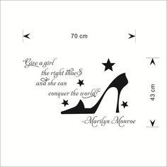 Citation célèbre donner une fille bonnes chaussures bricolage home decor stickers muraux pour les filles chambre chaussures magasin fenêtre décoration autocollants ZY8256 dans Autocollants muraux de Maison & Jardin sur AliExpress.com   Alibaba Group