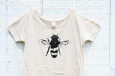 Bee Shirt -Womens - Natural White Alternative Apparel -  Honey Bee - Organic shirt - Small @elijah wasserman, etsy.