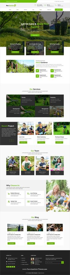Pro Garden is clean and modern design 4in1 responsive HTML #bootstrap template for #gardening, #lawn and landscaping services #website to download & live preview click on image or Visit