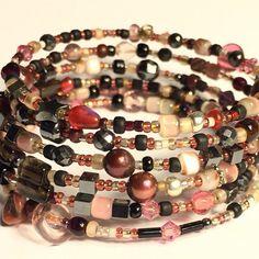 розовые стек браслеты, розовые бордовая проволока памяти деликатной бисера браслета, черный, гематит, жемчуг, накрутка 6й, роза набор браслет,