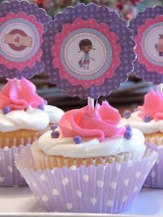Baked Blessings by Lisa: Is there a doctor in the house? Doc Mcstuffins Cupcakes, Doc Mcstuffins Birthday Party, 6th Birthday Parties, Third Birthday, Baby Birthday, Doctor Mcstuffins Party Ideas, Birthday Ideas, Bday Girl, Cupcake Cakes