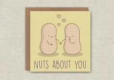 Cute Card Funny Birthday Card Nuts About by MagicallyCraftedShop