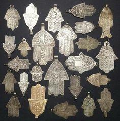Vintage and antique silver hamsa pendants. and a fish? Hamsa Jewelry, Hamsa Necklace, Tribal Jewelry, Jewellery, Fatima Hand, Antique Silver, Antique Jewelry, Art Ancien, Moroccan Design
