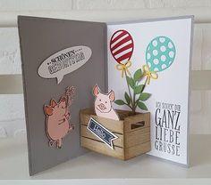 Petra´s Bastelideen: Workshpprojekt im September 2020 3d Cards, Pop Up Cards, Fancy Fold Cards, Folded Cards, Happy Birthday Cards, Diy Birthday, Tarjetas Diy, Slider Cards, Interactive Cards