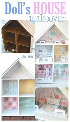 Sweet dolls house makeover! Could easily make this with a small book shelf and a couple of pcs of scrap wood..decorate..yay!