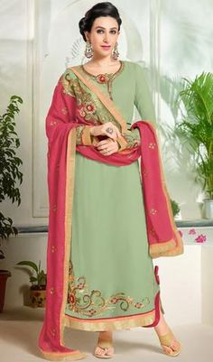 Majestic Pista Green Designer Suit & Embroidered Dupatta
