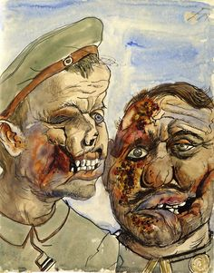 The artist uses a bit of line to show texture to the soldiers faces. He also uses colour to express what is happening in the picture.