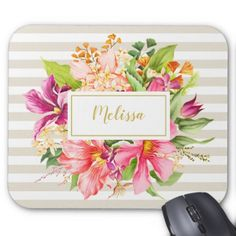 Monogram Vintage Flowers Pink Pastel Chic Mousepad - classy gifts custom diy personalize