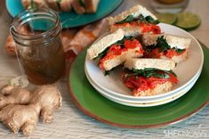 Creamy goat cheese and roasted red pepper tea sandwiches