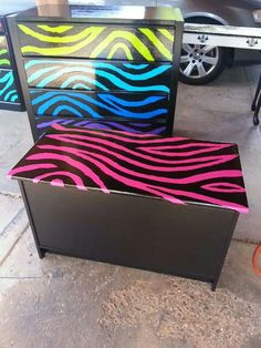 Hand painted restored dressers and chest, lisa Frank inspired. Very cute.