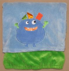 Taggies Blue Green Monster Velour Boys Baby Blanket Reversible Tags Plush Alien #Taggies