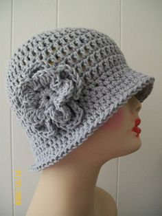 HAND CROCHET100% COTTON  CLOCHE BEANIE FLAPPER HAT STORMY GRAY W/ FLOWER #Handmade #Cloche