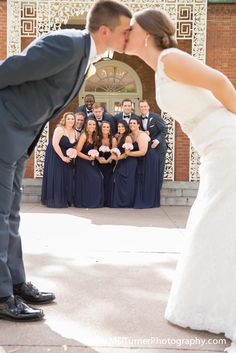 Creative way to capture bride and groom with wedding party - Houston wedding photography - MD Turner Photography