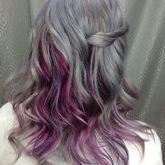 """Seal Grey  with peekaboo panel of grape purple #hairgoalsprofile"""