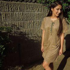 Brown Faux Suede Shift Lace Up Dress