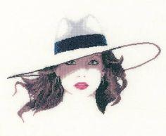 0 point de croix portrait femme chapeau - cross stitch portrait lady hat