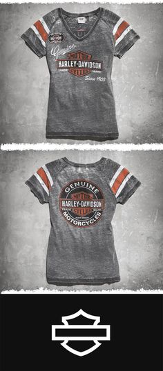 Love the worn look? Go retro. | Harley-Davidson Women's Genuine Oil Can Burnout Tee #MothersDay