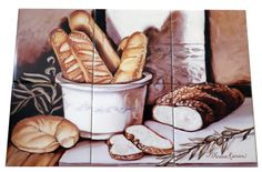 Bread Study - Tile Mural. Our kitchen tile murals are perfect to use as part of your kitchen splash-back tile project. Add interest to your kitchen backsplash wall with a decorative tile mural. If you are remodeling your kitchen or building a new home, install a tile mural above your stove top or install a tile mural above your sink.