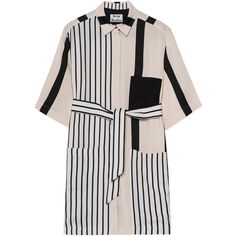 ACNE STUDIOS Cabell Stripe Wide Black // Striped linen blend dress (7.853.290 IDR) ❤ liked on Polyvore featuring dresses, striped shirt dress, mini dress, stripe shirt dress, acne studios and pattern dress