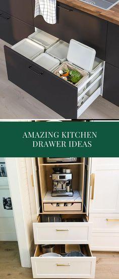DIY Kitchen Drawer Ideas #kitcendecor #kitchendrawer Kitchen Drawers, Kitchen Pantry, Diy Kitchen, Drawer Inspiration, Drawer Ideas, Drawer Design, Cool Kitchens, Diy Home Decor, Cabinets