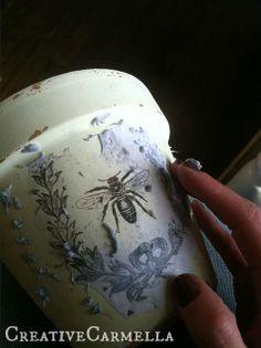 Creative Carmella: Image Transfer With Mod Podge... shabby chic flower pots