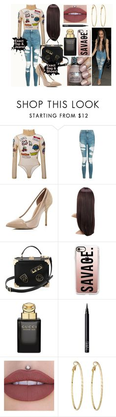 """Leigh-Anne pinnock steal her style"" by laurajessica ❤ liked on Polyvore featuring GCDS, Topshop, River Island, Aspinal of London, Casetify, Gucci, NARS Cosmetics and Lydell NYC"